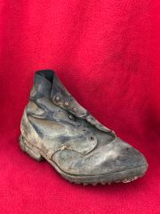 German soldiers black leather boot,fantastic condition relic recovered from a barn on a Farm in the village of Miraumont on The Somme battlefield