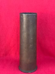 British 18 pounder brass shell case complete in very nice condition dated 16th March 1917 found on the Somme battlefield of 1916-1918