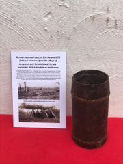 German steel shell case with brass driving bands for 9cm Kanone 1873 field gun recovered from Longueval near Delville Wood on the Somme battlefield of July 1916