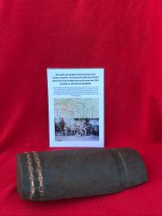 Steel shell case fragment from German 15cm schwere howitzer 13 recovered in 2014 from British front line trench at Maricourt on the June-July 1916 front line on the Somme battlefield