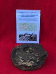 Steel shell case base from around calibre 7-8 inch artillery gun recovered in 2014 from British front line trench at Maricourt on the June-July 1916 front line on the Somme battlefield