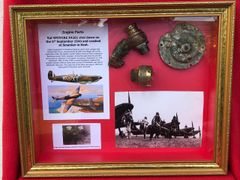 Glass framed fantastic condition engine parts,very clean,maker marked from RAF Spitfire P9364 shot down by Ace Werner Molders on the 27th September 1940 crashed at Hollingbourne