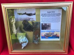 Glass framed engine parts,nice clean relics from RAF Spitfire P9364 shot down by Ace Werner Molders on the 27th September 1940 crashed at Hollingbourne