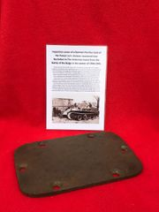 Inspection cover with paint remains from German Panther Tank recovered from near Rochefort which was a village attacked by the Panzer Lehr division on the 23rd December 1944 during the battle of the bulge