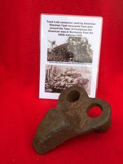 Track link connector,maker marking from American Sherman tank recovered in the area of the Town of Coutances in Normandy 1944 battlefield