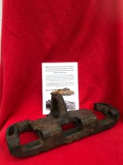 Battle damaged track link type 5A 1942 pattern from German Panzer 4 tank recovered from the Falaise pocket which was the destruction of Panzergruppe West in the summer of 1944 on the Normandy battlefield