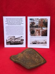 German battle damaged electrical cover from maybach engine of Tiger 1 tank recovered from Priekule in the Kurland pocket defended by the SS Nordland Division during the battle 1944-1945