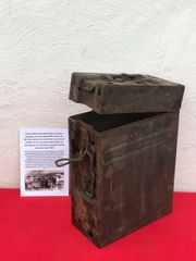 German 20mm Flak 30/38 Anti-aircraft gun magazine box dated 1942,white marking paintwork nice condition relic,waffen stamped recovered from a Lake South of Berlin in the area the 9th Army fought,surrendered in April 1945 in battle of Berlin