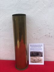German 10cm brass shell case dated May 1918 fired by 10cm K/04 field gun found on the Somme battlefield 1916-1918