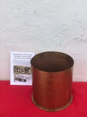 German 21cm brass shell case rare pre war stock dated 1911 for the Morser 16 heavy howitzer found on the 1916-1918 Somme battlefield