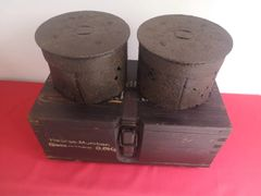 German wooden ammunition box complete with two steel shell cases from the 15cm schweres Infanterie Geschütz (heavy infantry gun 33 used in the battle of the bulge 1944-1945