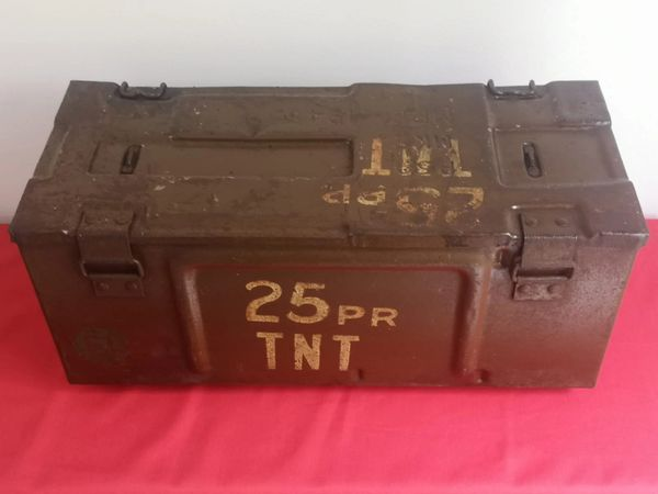 1945 dated metal ammunition box for 4 projectiles from the famous 25pdr field gun from a local brocante in Bras a village just outside Bastogne from the Bulge battle 1944-1945