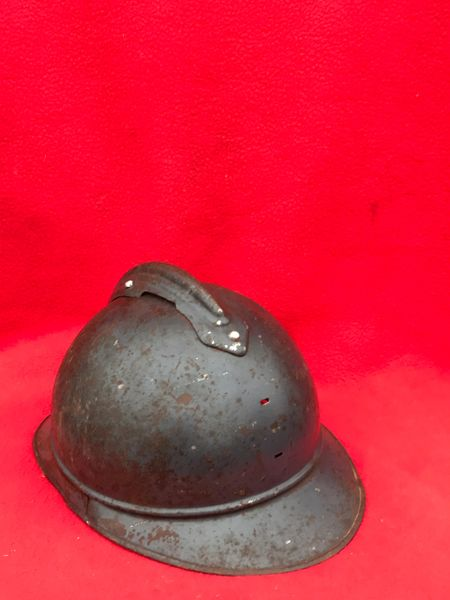 French infantry soldiers M15 Adrian helmet with original dark blue paintwork,very nice condition from the Somme battlefield 1916-1918