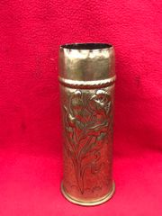 German 77mm shell case trench art with embossed rose and pebble dash design dated March 1917 found on The Verdun battlefield 1914-1918