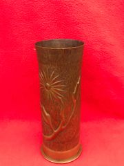 German 77mm shell case trench art marked with a beautiful embossed flower design on lined pebble dash pattern dated October 1917 found on The Somme battlefield 1916-1918