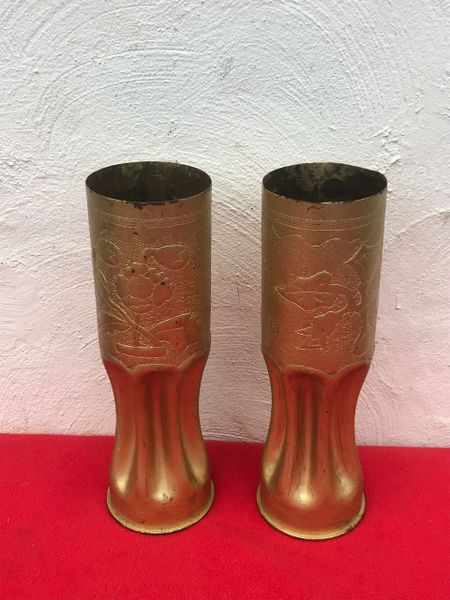 American 105mm artillery gun shell cases both dated 1944 trench art matching pair found many years ago around Bastogne from the battle of the Bulge 1944-1945