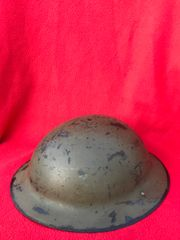 British soldiers mark 2 brodie helmet dated 1941,original green paintwork and maker stamp,missing its rim edge found on a brocante in the town of Coutances in Normandy 1944 summer battlefield