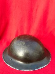 British soldiers mark 2 brodie helmet dated 1941,original green paintwork and maker stamp found on brocante in the town of Coutances in Normandy 1944 summer battlefield