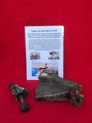 Large section of mag allow engine case with engine bolt,black paintwork,nice condition from RAF Spitfire P9364 shot down by Ace Werner Molders on the 27th September 1940 and crashed at Hollingbourne in Kent