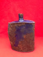 British Soldiers Water Bottle original blue colour recovered in the area that was Guillemont Station on the July-August 1916 battlefield on the famous Somme battlefield of 1916.