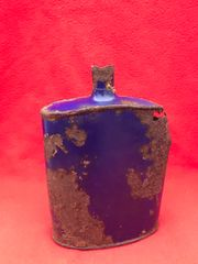 British Soldiers Water Bottle original blue painted colour recovered in the area that was Guillemont Station on the July-August 1916 battlefield on the famous Somme battlefield of 1916.