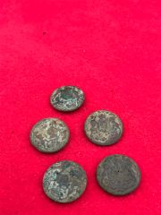 5 British soldiers jacket buttons,nice relic condition recovered in 2016 from the remains of an old German trench line near the village of Mametz on the Somme battlefield 1916