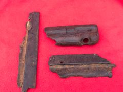German MP40 machine gun bakerlite grips,nice condition parts with soldiers name on recovered from the area of the Bourguebus ridge captured by the British and Canadians during Operation Goodwood, 18-21 July 1944 in Normandy