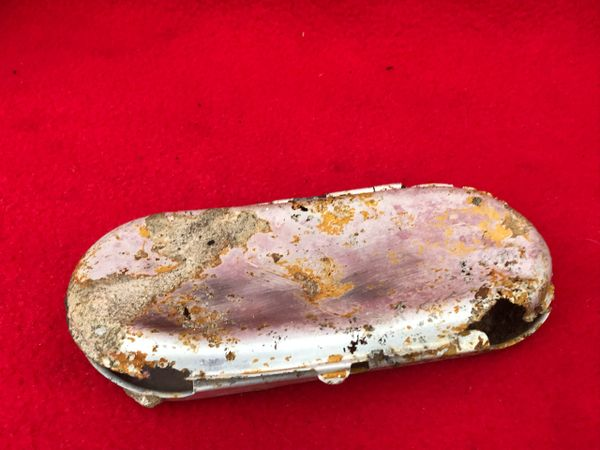 American soldiers metal glasses case maker marked recovered from near Elsenborn Ridge in the Ardennes Forest from the battle of the bulge 1944-1945