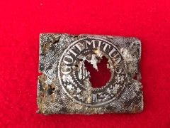 German Army soldiers early war aluminium belt buckle,relic condition recovered from near Elsenborn Ridge in the Ardennes Forest from the battle of the bulge 1944-1945