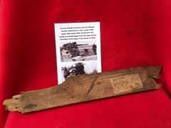 German flak 88 anti tank,anti aircraft gun wooden ammunition crate section with paper Label remains dated 1943 recovered in the woods around Bastogne from the Siege in the battle of the Bulge 1944