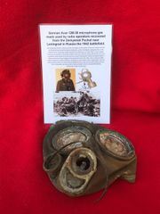 German Auer GM-30 microphone gas mask used by radio operators,nice condition relic recovered from the Demyansk Pocket in Russia 1941-1942 battlefield