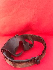 German soldiers helmet leather liner ring still with leather liner remains attached and original paintwork on the ring recovered from the Demyansk Pocket in Russia 1941-1942 battlefield