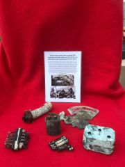 German radio internal parts one dated 1939 and front dial part nice condition relics recovered from Death Valley near Hill 112 the battle in operation Epsom on the Normandy battlefield of 1944