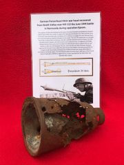 German panzerfaust klein war head remains recovered from Death Valley near Hill 112 the battle during operation Epsom in June 1944 on the Normandy battlefield