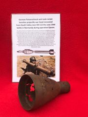 German panzerschreck war head remains recovered from Death Valley near Hill 112 the battle during operation Epsom in June 1944 on the Normandy battlefield