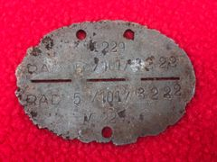 German soldiers dog tag 5th Company of the 101st Battalion RAD-Reich Labour Service, zinc made recovered from the battle of Berlin April 1945 battlefield in the last days of the Reich against the Red Army