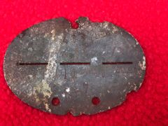 German soldiers dog tag 1st Company of the 227th Panzer Abwere Abteilung [Armoured regiment] zinc made recovered from the battle of Berlin April 1945 battlefield in the last days of the Reich against the Russians