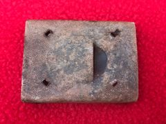 German Army soldiers early war aluminium belt buckle,no plate relic condition recovered from near Elsenborn Ridge in the Ardennes Forest from the battle of the bulge 1944-1945