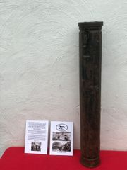 German Wehrmacht KwK40 7.5cm high explosive shell carry case used by German panzer 4 tank used by the 116th Panzer Division recovered in Mont near Houffalize ,Ardennes Forest,battle of the Bulge 1944-1945