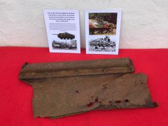 Rear tool box lid from Jagdpanzer 38 Hetzer tank destroyer from the Panzer Lehr division recovered from near Rochefort which was a village attacked by the Panzer Lehr division on the 23rd December 1944 during the battle of the bulge