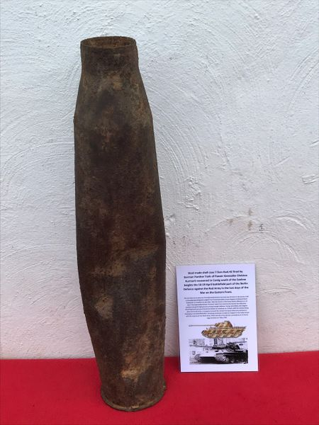 German steel shell case 7.5cm KwK42 fired by a Panther Tank of Panzer Grenadier Division Kurmark recovered in Carzig south of the Seelow heights the 16-19 April 1945 battlefield