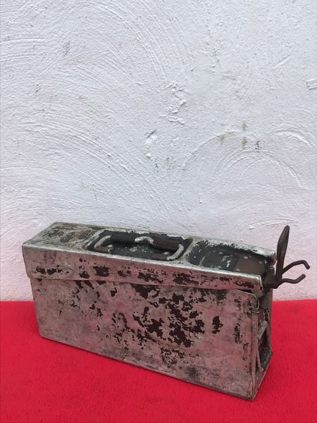 German mg 34 early war aluminium made ammunition tin dated 1937 maker marked recovered from the Demyansk Pocket south of Leningrad in Russia 1941-1942 battlefield