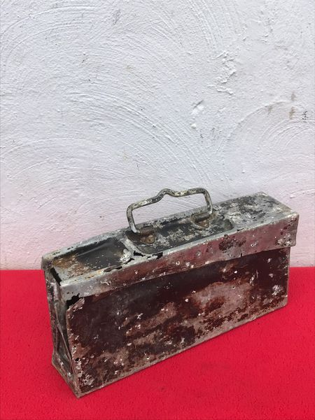 German mg 34 early war aluminium made ammunition tin nice painted markings recovered from the Demyansk Pocket south of Leningrad in Russia 1941-1942 battlefield