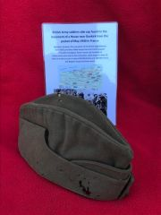 Very rare find British Army soldiers side cap,nice condition relic found in the basement of a House near Dunkirk from the pocket of may 1940
