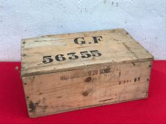 German Army horse shoe nail storage crate with original markings and transport label found near the city of Arras from the German occupation of 1940-1944