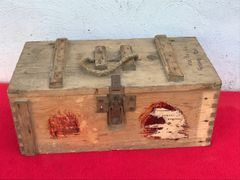 German carry crate for Gewehr Sprenggrante 30 anti personnel rifle grenades nice condition with paper label dated 24th April 1945 UNBELIEVABLY RARE found on a flea market in Berlin April 1945 battle