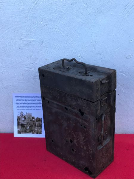 German 20mm Flak 30/38 Anti-Aircraft gun magazine twin carry box belonging to Luftwaffe 311th Flak battalion recovered from a Lake East of Bastogne from battle of the Bulge 1944-1945