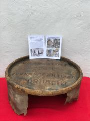 German Wehrmacht fuel barrel remains dated 1942 with its maker markings recovered in 2019 from old German bunker from the area of Priekule,Kurland pocket defended by the SS Nordland Division the battle in 1944-1945