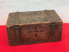 German wooden ammunition crate for artillery gun shell fuses,nice condition original markings found on the Somme battlefield 1916-1918