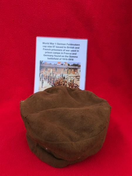 German Feldmutzen cap size 57 issued to British,French prisnors of war in prison camp in France and Germany found on the Somme battlefield 1916-1918